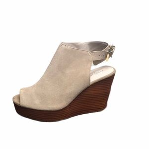Kenneth Cole Shoes - Kenneth Cole Suede Wedge Ankle Strap Peep Toe SZ 8